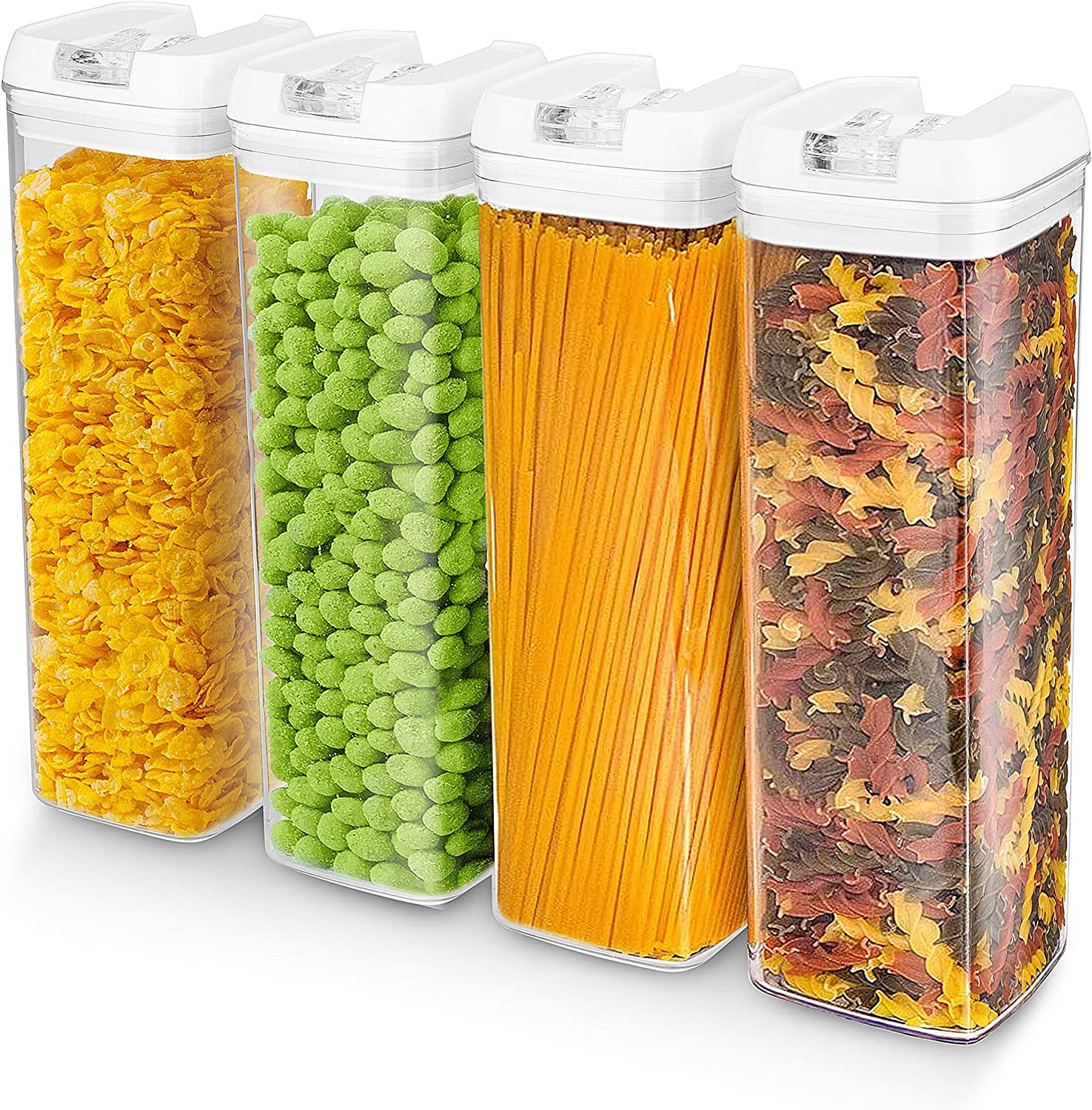4-Piece Airtight Food Storage Containers Set, ENLOY BPA-Free Plastic Pantry & Kitchen Canisters with Lids for Cereal, Spaghetti, Noodles, Pasta, 1.9L (60oz)