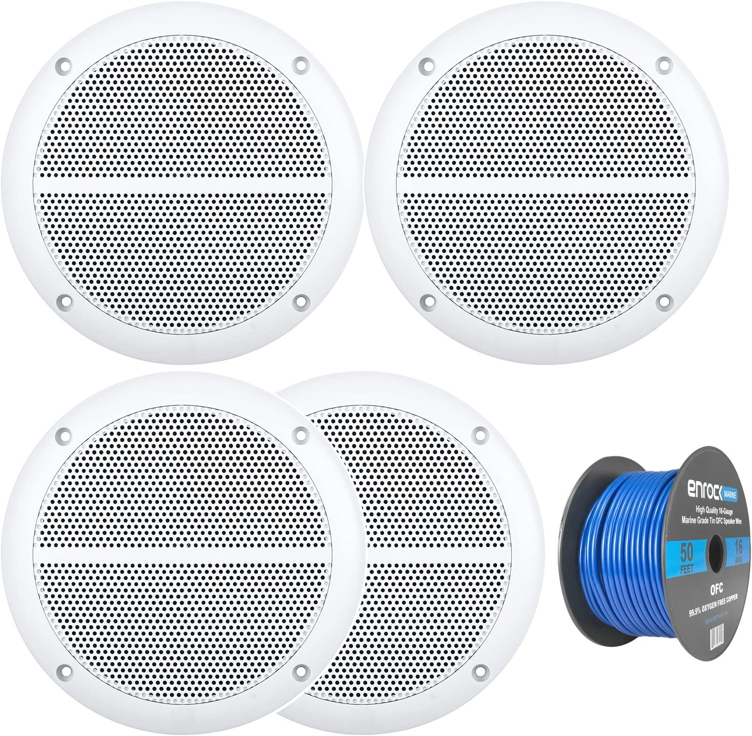 Car Speaker Package of 2 Pairs of Enrock Marine Boat 6.5 Inch Dual-Cone White Upgarde Audio Stereo Coaxial Speakers Bundle Combo with Enrock 50 Foot 16 Gauge Speaker Wire