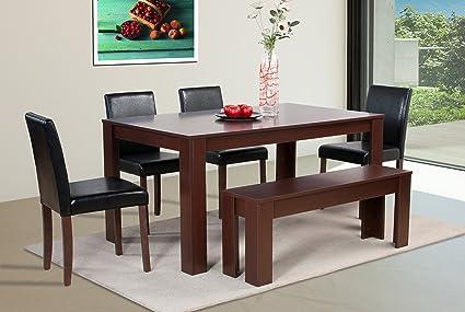 Gran efecto de madera de nogal mesa de comedor con sillas de ...