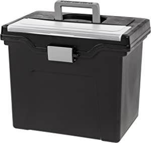 IRIS USA, Inc. HFB-24E-TOP Portable Letter Size File Box with Organizer Lid, 4 Pack, Black, Large