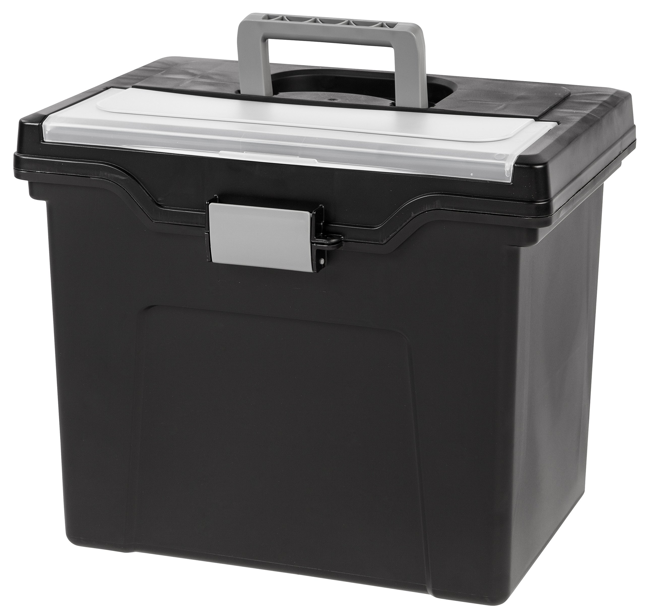 IRIS USA, Inc. HFB-24E-TOP Portable Letter Size File Box with Organizer Lid, 4 Pack, Black, Large, by IRIS USA, Inc.