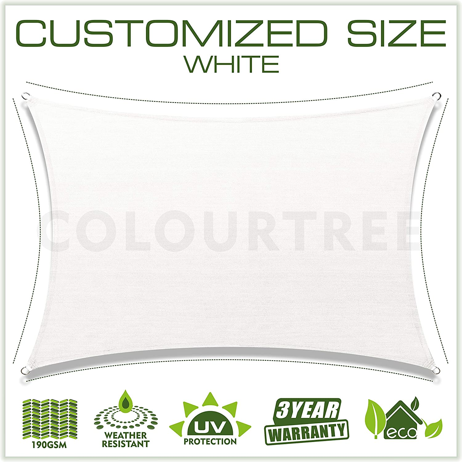 ColourTree Customized Size 6 x 6 White Sun Shade Sail Canopy UV Block Rectangle Commercial Standard Heavy Duty 190 GSM 3 Years Warranty