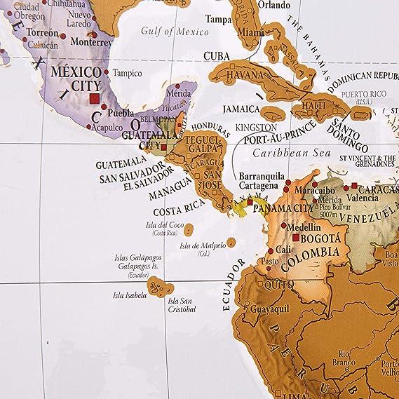 Póster Scratch the World®, rasca tu mapa del mundo, con cartografía detallada, tamaño grande, 84,5 x 59,7 cm