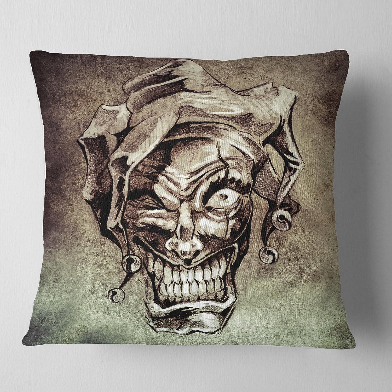 Designart CU7822-16-16 Fantasy Clown Joker Tattoo Sketch Throw Pillow 16 x 16