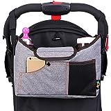DYSONGO ベビーカー用バッグ ドリンクボトルホルダー - 多機能 ベビーカーバッグ 大容量のベビーおむつ袋 多数のベビーカーに取り付けられる (グレー)