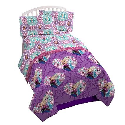Disney Frozen Floral de microfibra doble juego de sábanas, Floral Twin, cama individual