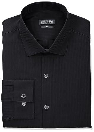 """cfcc3e4d0c Kenneth Cole REACTION Men's Slim Fit Textured Stripe Solid Dress Shirt,  Black, 14.5"""""""
