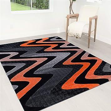 Amazon Com Hr Orange Grey Silver Black Abstract Area Rug Modern Contemporary Zigzag Wave Design 7 8 X10 Furniture Decor