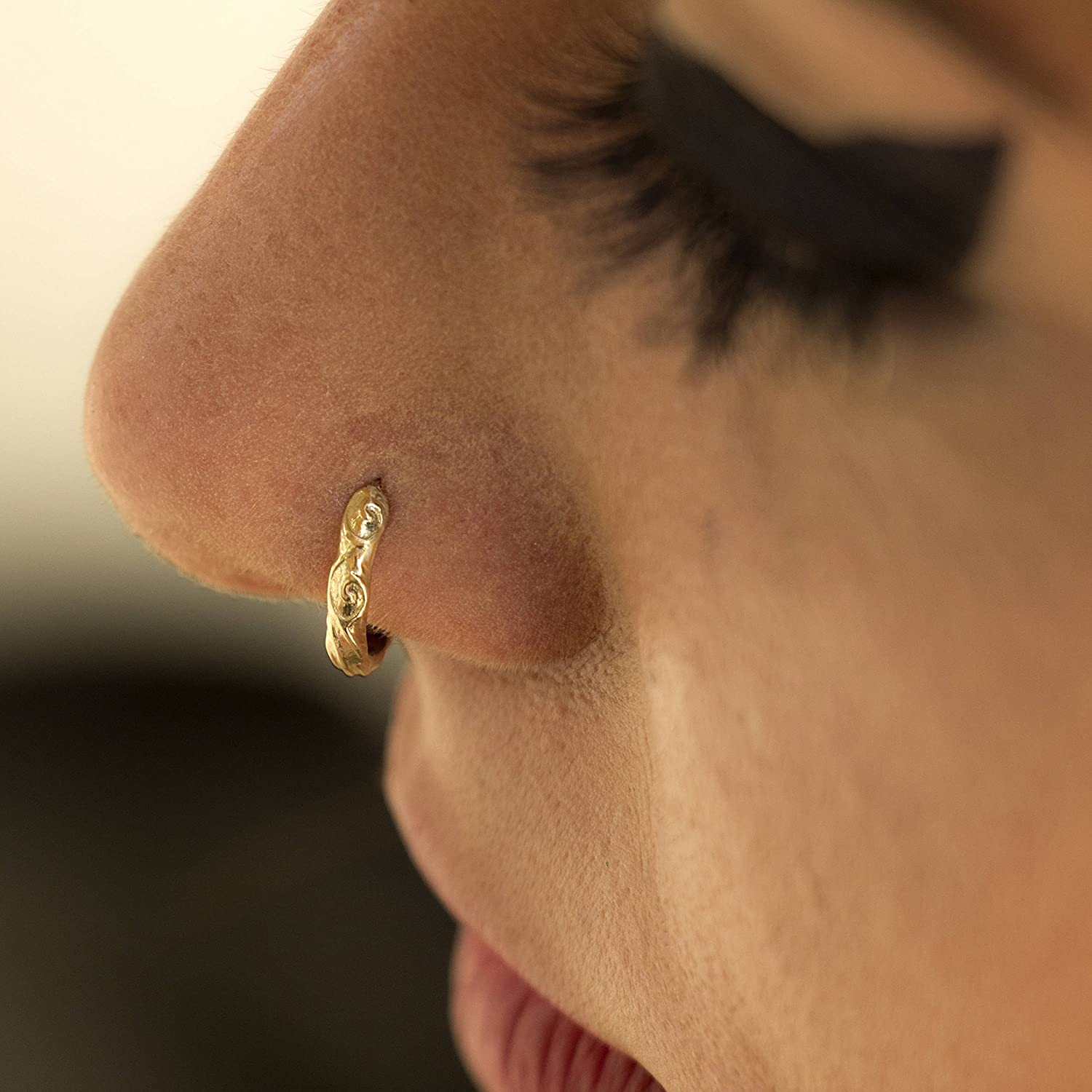 Amazon Com Unique Indian Nose Ring Gold Plated Nose Hoop