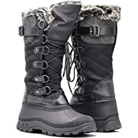 Enzo Romeo ARC Women Winter Fashion Snow Boots Rubber Toe Fleece Lining Calf Riding Knee High Boots Flat Heels Cozy Shoes