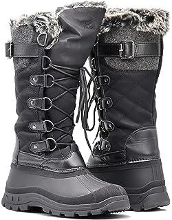 f878e647a2b ARC Women Winter Fashion Snow Boots Rubber Toe Fleece Lining Calf Riding  Knee High Boots Flat