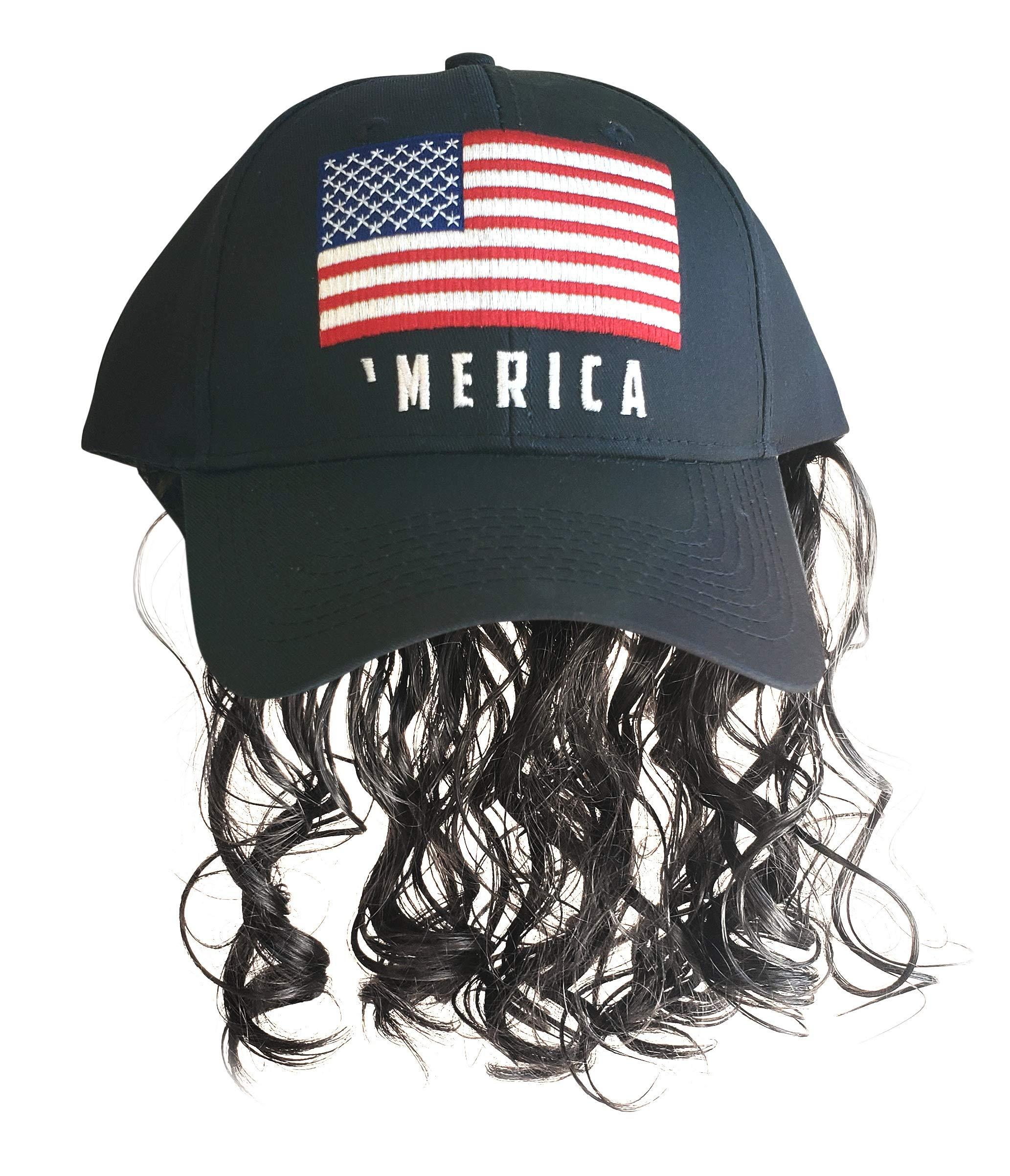 Artisan Owl Black 'Merica Flag Mullet Wig Baseball Cap by Artisan Owl
