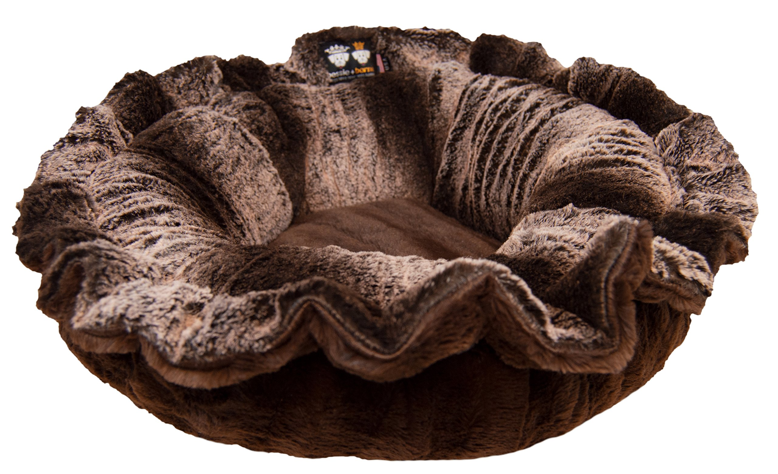 BESSIE AND BARNIE Ultra Plush Frosted Glacier/Godiva Brown (Patch) Luxury Deluxe Dog/Pet Lily Pod Bed by BESSIE AND BARNIE