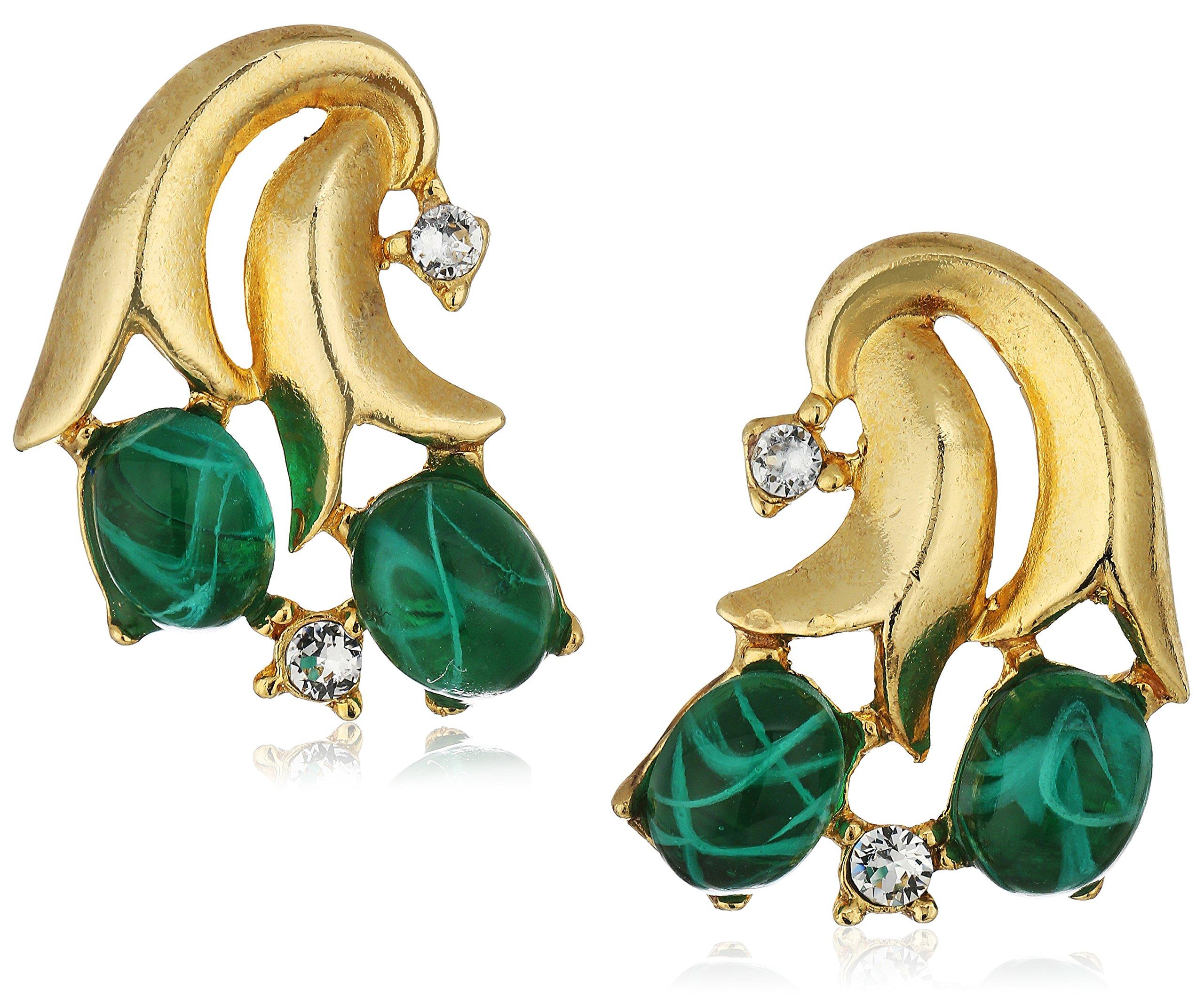 Ben-Amun Jewelry Golden Era Swarovski Crystal Emerald Blossom Drop Earrings for Bridal Wedding Anniversary by Ben-Amun Jewelry