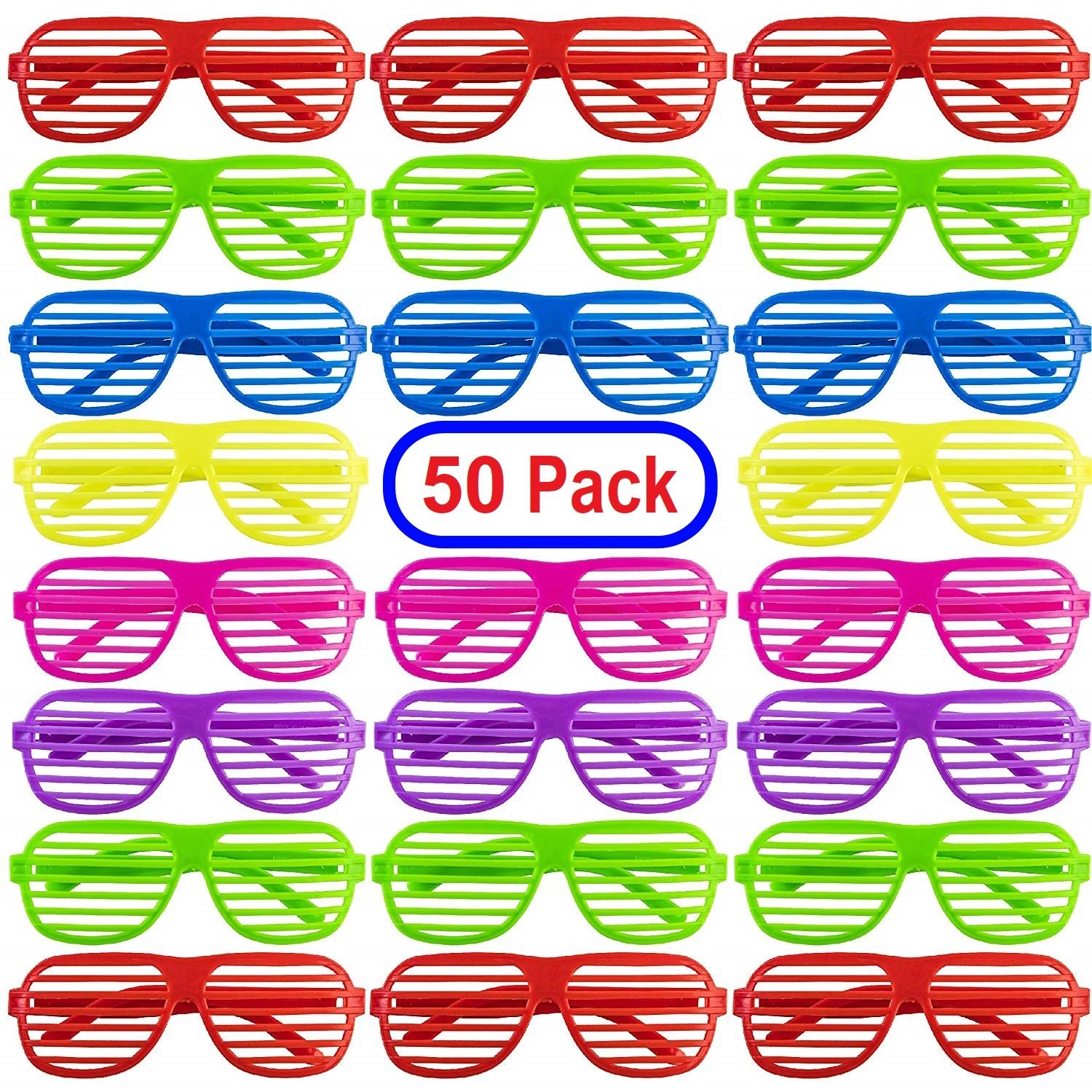 Mega Pack 50 Pairs of Plastic Shutter Shades Glasses Shades Sunglasses Eyewear Party Favors and Party Props Assorted Colors