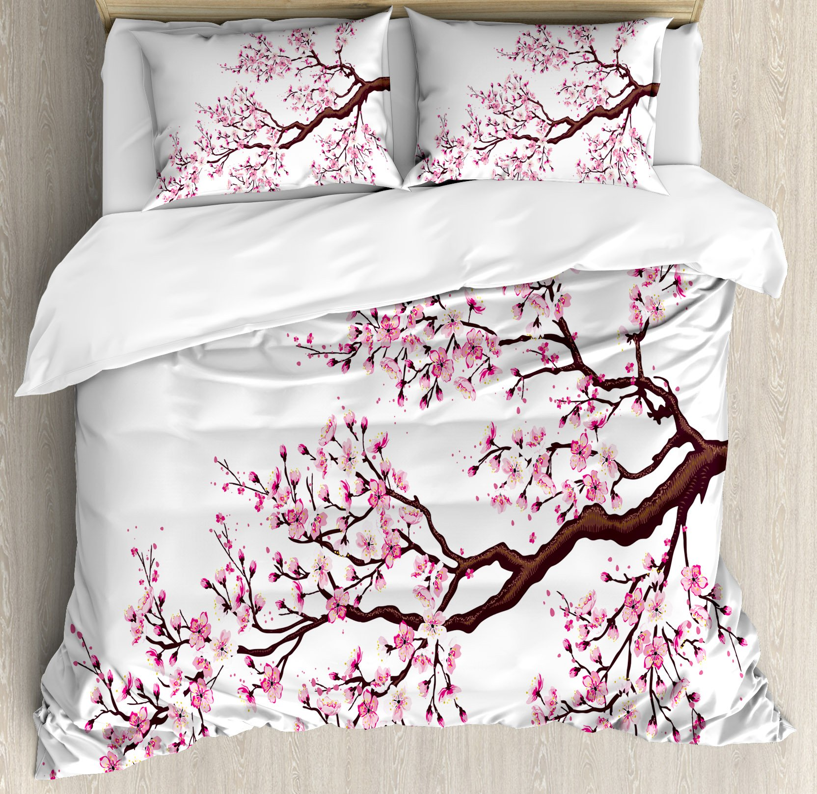 Japanese Duvet Cover Set King Size by Ambesonne, Branch of a Flourishing Sakura Tree Flowers Cherry Blossoms Spring Theme Art, Decorative 3 Piece Bedding Set with 2 Pillow Shams, Pink Dark Brown