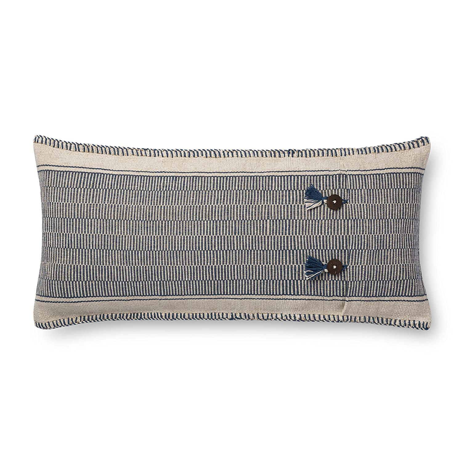 Loloi Cover with Down Filled Feathers and Buttons Closure Throw Pillow 12 X 27 Indigo//Natural Loloi Rugs Inc P0712