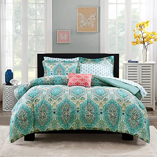 Amazon.com: 8 Piece Girls Multi Color Monique Paisley Comforter With Sheet Full Set, Teal Gold Black Damask Moroccan Pattern, Ogee Design Kids Bedding, ...