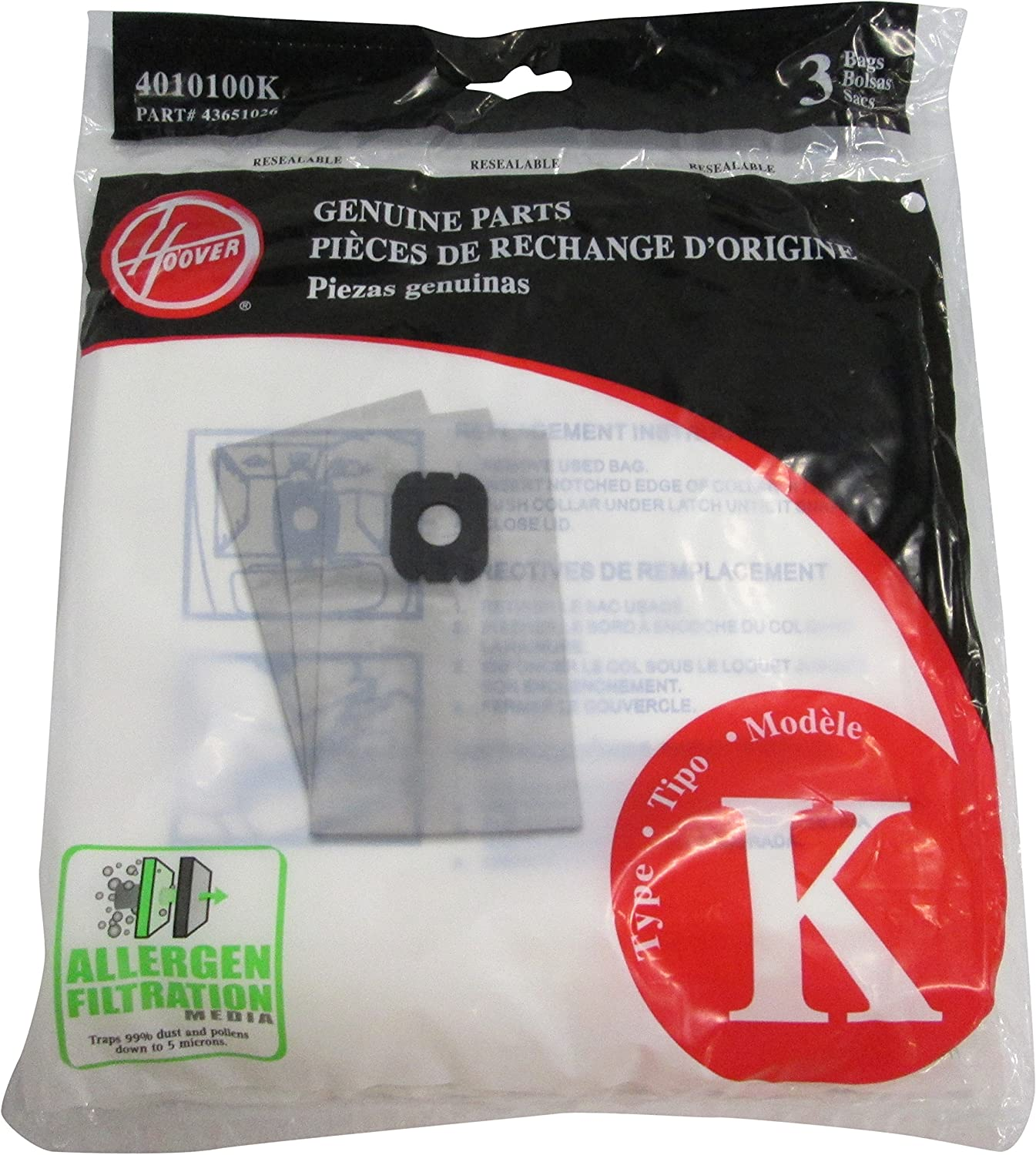 Hoover 3 Pack, Style K Allergen Filtration Vacuum Bags