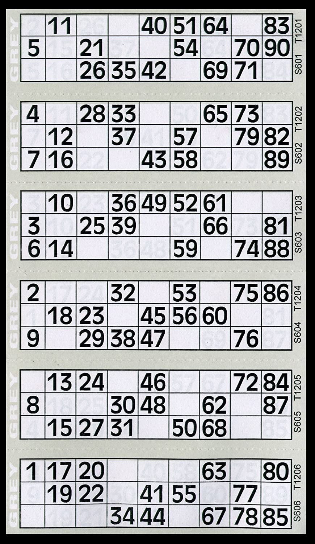 600 Tickets de Bingo Pad Gris - 6 pour afficher des Flyers Bingo House
