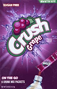 Crush Singles To Go Powder Packets, Water Drink Mix, Grape, Non-Carbonated, Sugar Free Sticks (72 Total Servings) - ORIGINAL FLAVOR, 0.48 Ounce (Pack of 12)