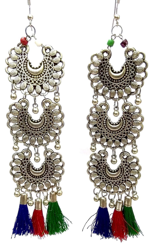 DESI HAWKER Silver Oxidized Earring Bali Jhumki Jhumka Jewelry Bollywood Drop Dangle Long Chandbali Afghani Tassels NI-138