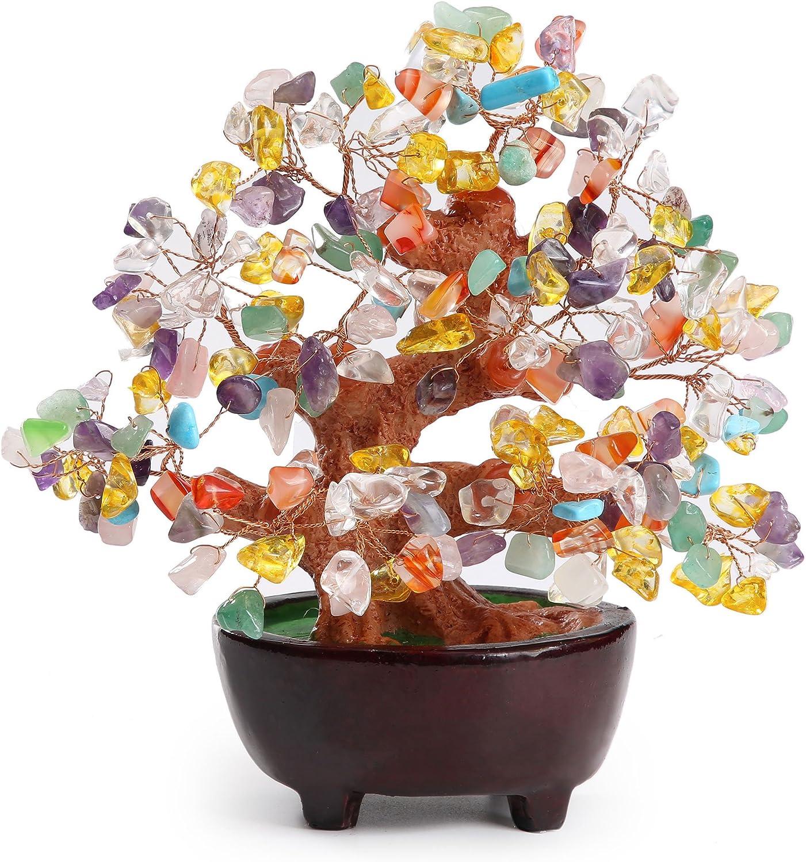 HapiLeap Árbol de Dinero, Gemas Feng Shui Adornos de árbol de Cristal curativo Figuras de árbol, ágata de geoda de Cuarzo Soporte para Oficina, Sala de Estar, decoración de Buena Suerte (Multicolor)