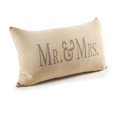 Darice Decorative Beige Mrs. Throw Pillow