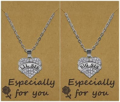 6d1cae4db8 Big Sis & Lil Sis Valentines Heart Necklace Set, 2 Sister Necklaces, Big &