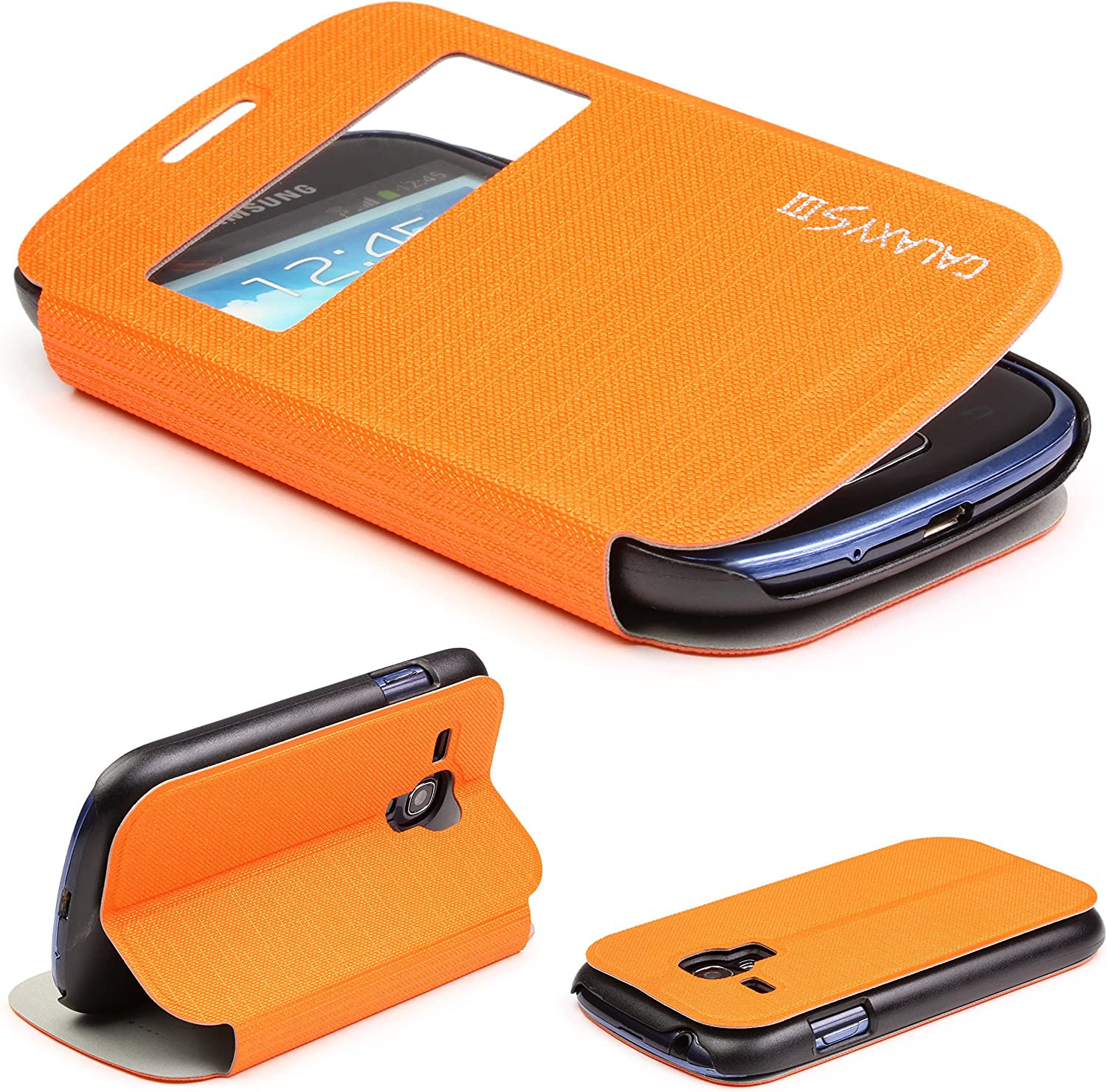 Galaxy S3 Mini Case Urcover Flip Cover With S View Window Stand Function Exact Fit Protective Wallet Case For Samsung Galaxy S3 Mini 4 Inch Orange