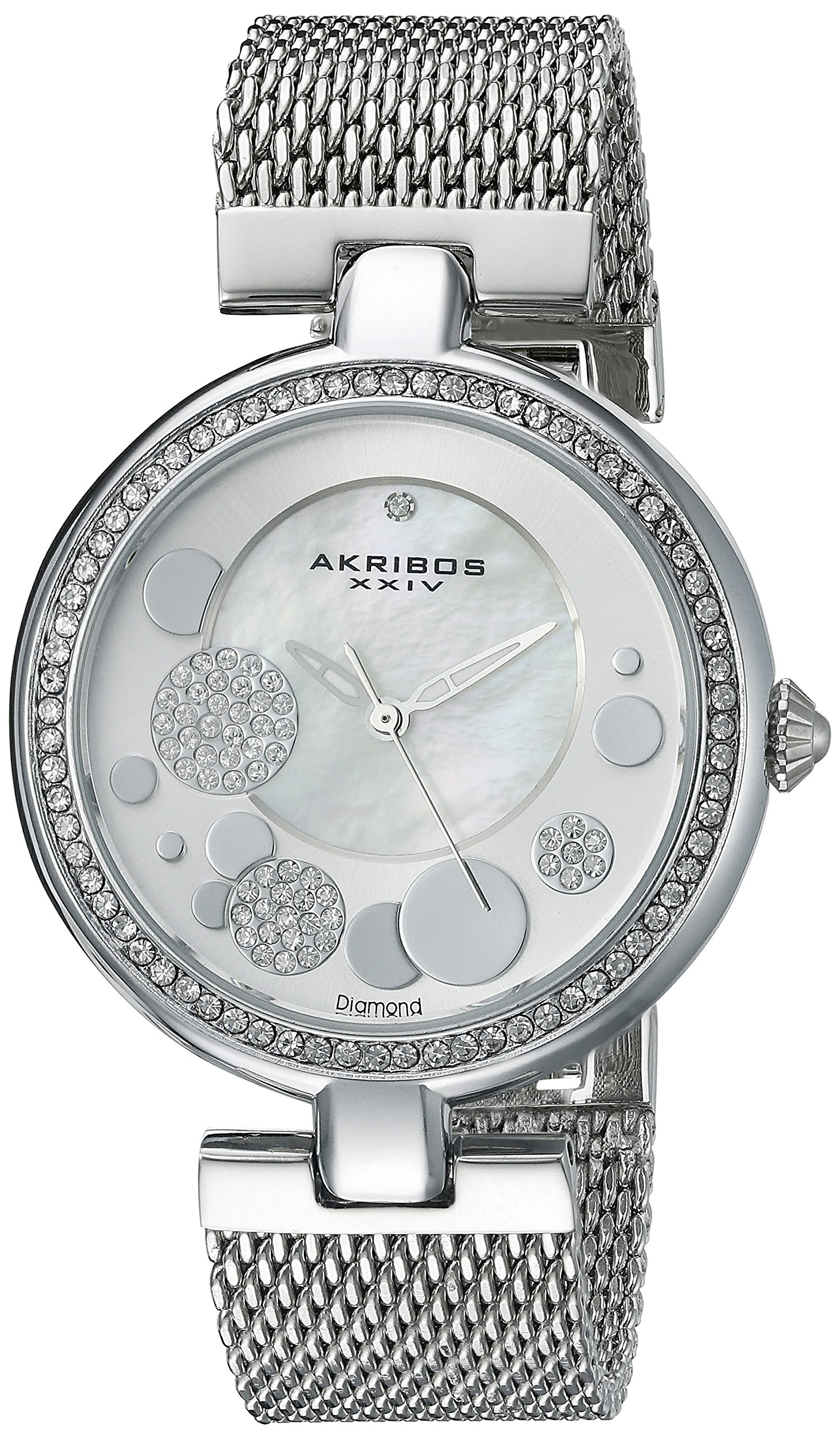 Akribos XXIV Women's AK881 Mother of Pearl Watch with Stainless Steel Mesh Bracelet (Silver)