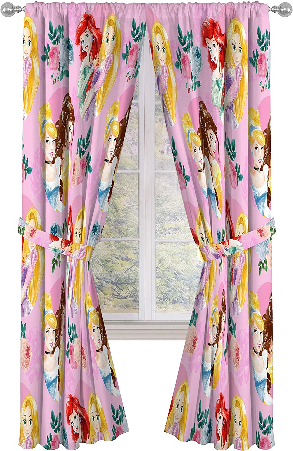 "Disney Princess Sassy 84"" Inch Drapes 4 Piece Set - Beautiful Room Décor & Easy Set Up, Bedding Features Aurora & Rapunzel - Window Curtains Include 2 Panels & 2 Tiebacks (Official Disney Product)"