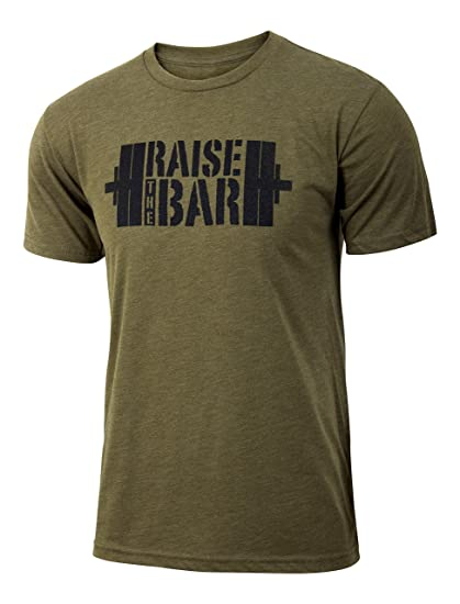 8399841eee1df0 Amazon.com: Jumpbox Fitness Raise The Bar - Military Green - Men's Barbell  Weightlifting Triblend Workout T-Shirt: Clothing