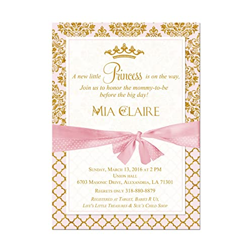 Amazon Princess Baby Shower Invitation In Pink And Gold With