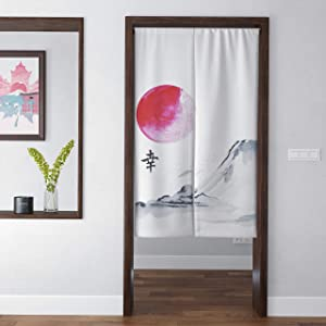 Spanker Grey and White Japanese Fuji Mountain Artistic Traditional Ink Painting Fengshui Door Curtain for Home Kitchen Door Decor Natural Cotton Linen 34x47 inches