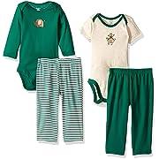 Gerber Baby Boy 4 Piece Bodysuit and Pant Set, monkey, 0-3 Months