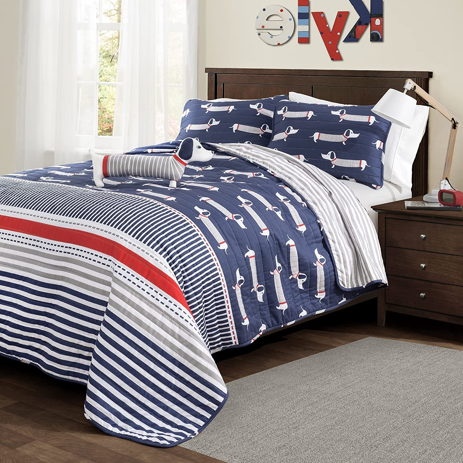 3 Piece Adorable Sausage Dogs Patterned Reversible Quilt Set Twin Size, Featuring Pastel Geometric Straight Line Stripes Bold Mans Best Friend Dog Bedding, Petlife Lovers Bedroom, Navy, White, Red S & E
