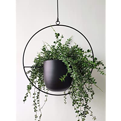 RISEON Boho Black Metal Plant Hanger,Metal Wall and Ceiling Hanging Planter, Modern Planter, Mid Century Flower Pot Plant Holder, Minimalist Planter for Indoor Outdoor Home Decor (Style A): Garden & Outdoor