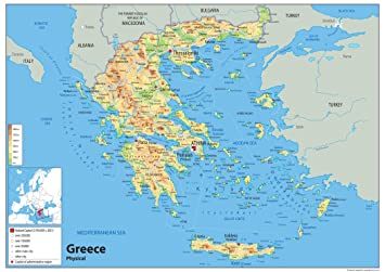 Greece Physical Map Paper Laminated A0 Size 841 x 1189 cm