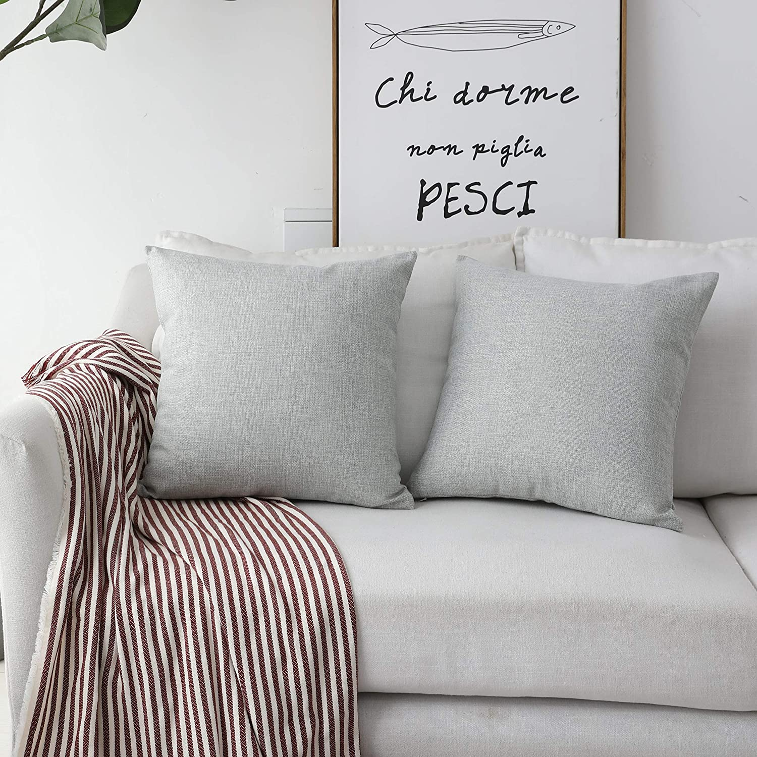 Home Brilliant Set of 2 Couch Throw Pillows Linen Decorative Pillow Covers for Couch Sofa, 20x20 inches(50cm), Light Grey