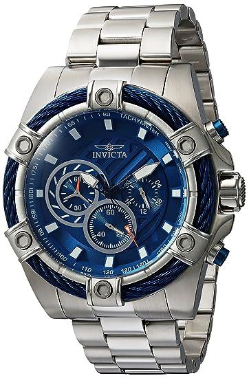 Invicta BOLT Reloj de hombre cuarzo correa y caja de acero dial azul 25513: Amazon.es: Relojes