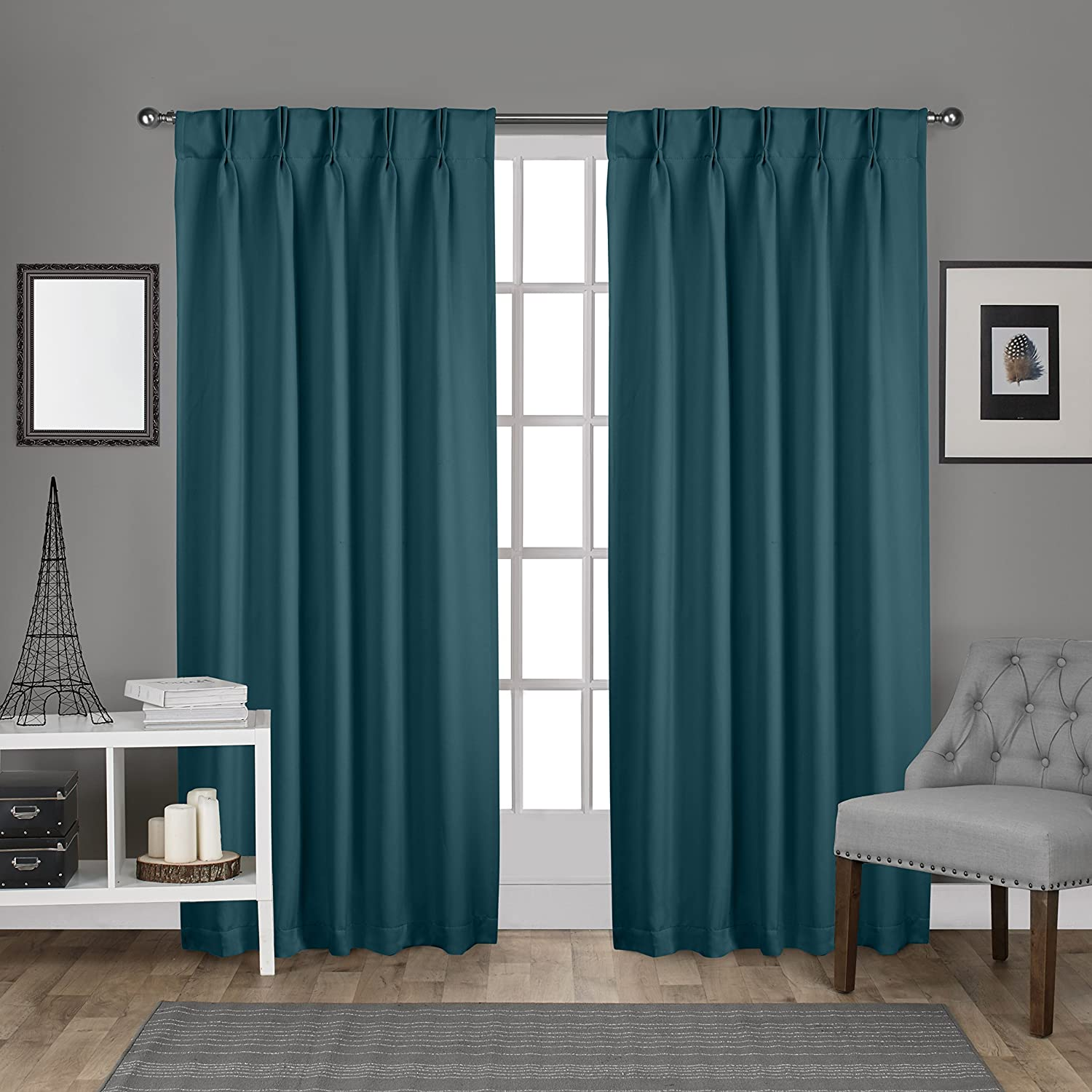Exclusive Home Curtains Sateen Pinch Pleat Woven Blackout Back Tab Window Curtain Panel Pair, Teal