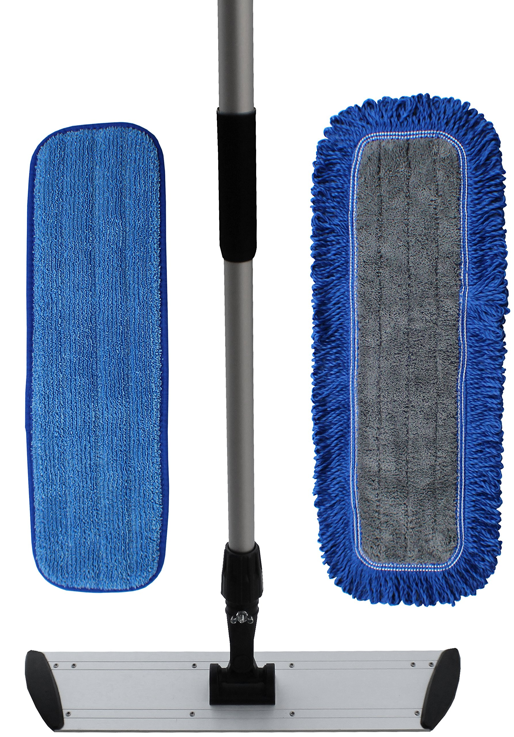 48'' Professional Microfiber Floor Cleaning Kit | Superior Microfiber Mop Pads | Microfiber Mop Handle & Frame Set (48'')