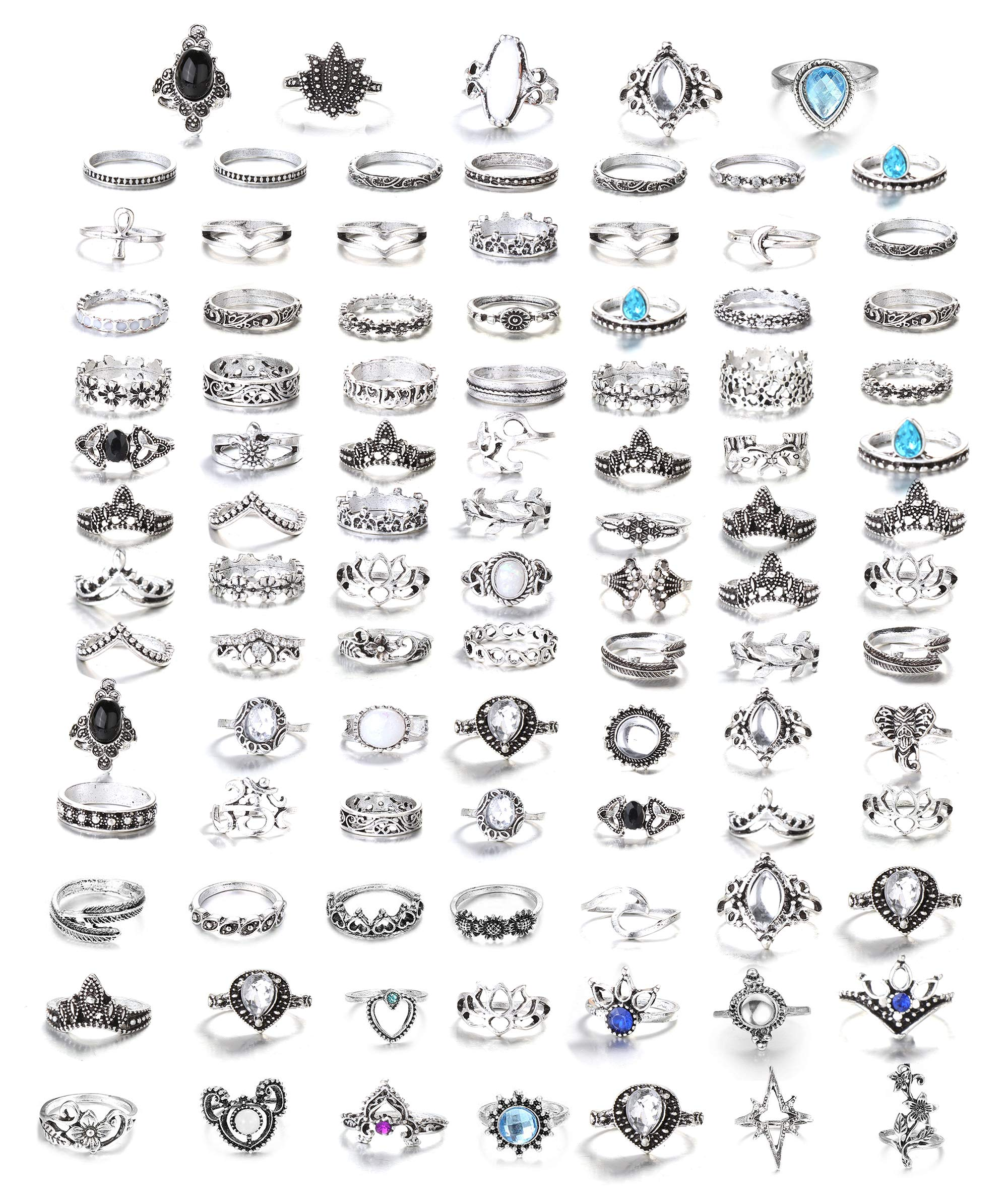 FIBO STEEL 101 Pcs Vintage Knuckle Rings for Women Girls Stackable Midi Finger Ring Set (B1: 101 Pcs a Set)