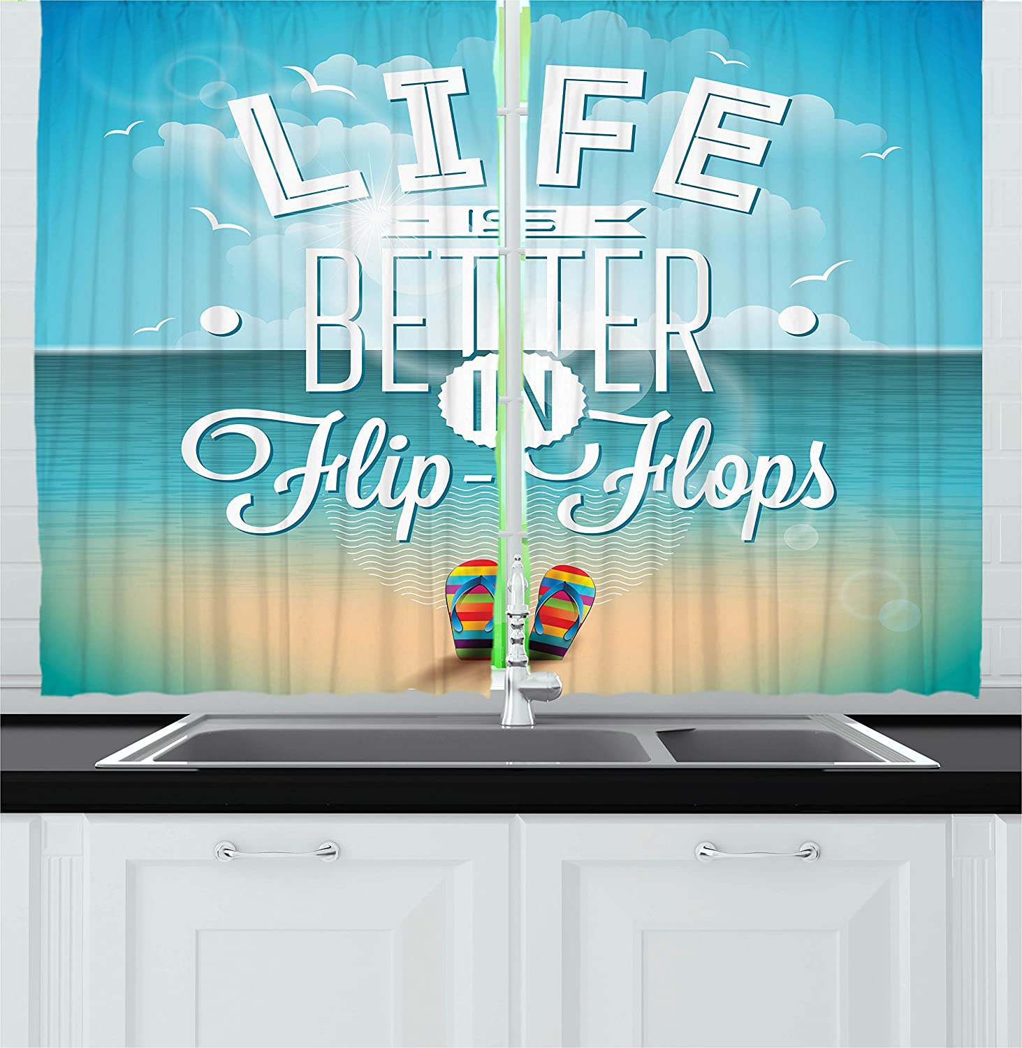 Amazon.com: Ambesonne Quote Decor Kitchen Curtains, Life is Better ...