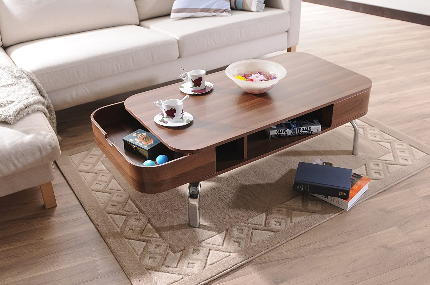 Amazon ioHOMES Luxer Coffee Table with Drawers Walnut