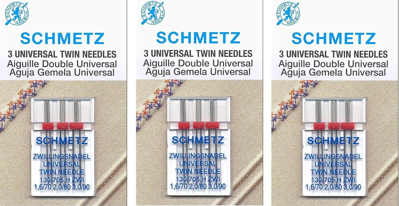 Euro-Notions Schmetz Twin Machine Needle Size 3.0//90 1//Pkg