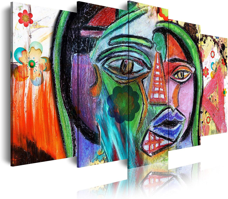 DekoArte - Cuadros Modernos Impresión de Imagen Artística Digitalizada | Lienzo Decorativo Para Tu Salón o Dormitorio | Estilo Abstractos Arte Picasso Cara picassiana Rojo | 5 Piezas 150 x 80 cm