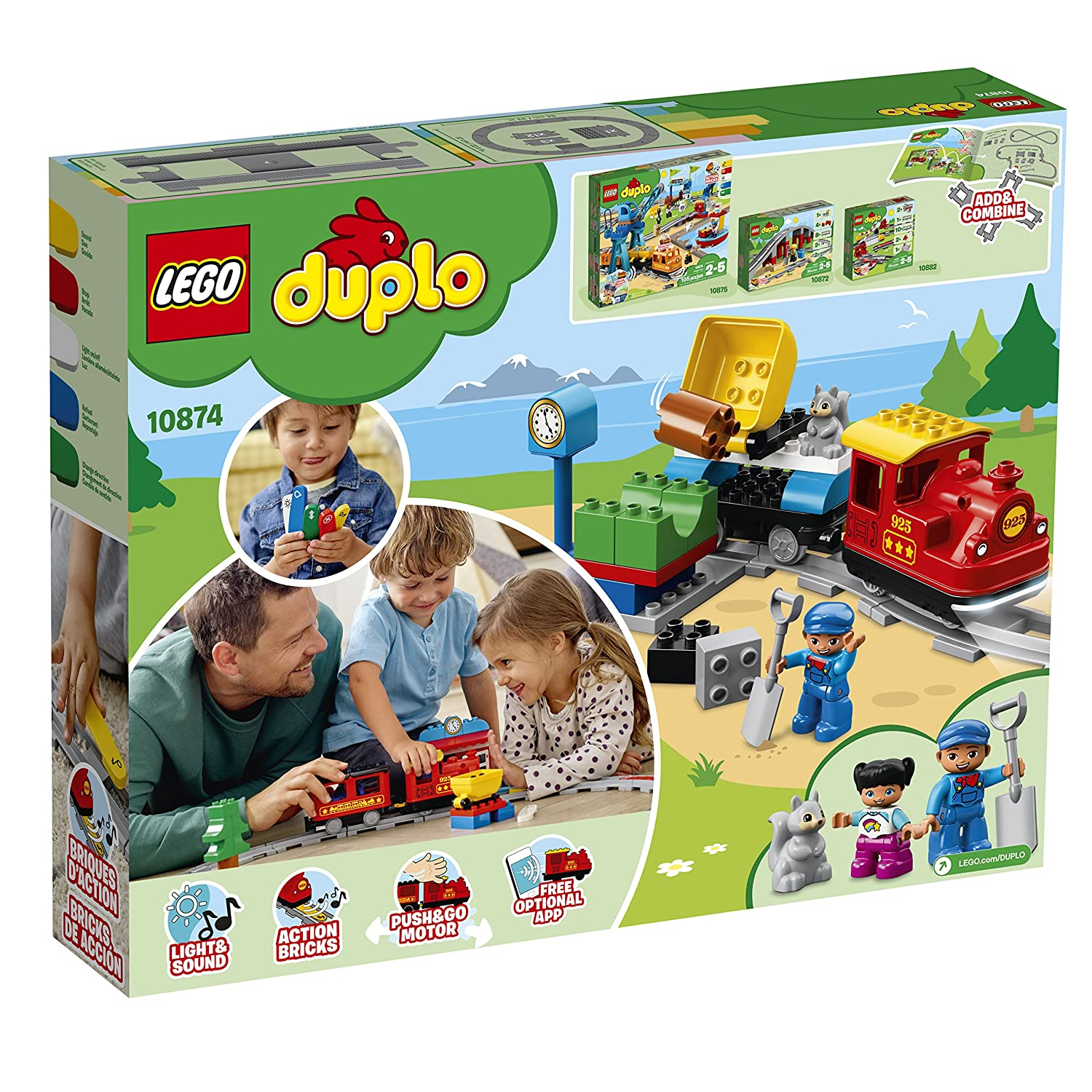 59 Pieces LEGO DUPLO Steam Train 10874 Remote-Control Building Blocks Set  Helps Toddlers Learn Great Educational Birthday Gift