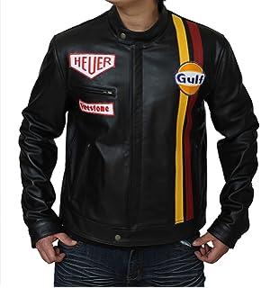 e39fb867b Mens Leather Jacket - Le Mans Steve McQueen Gulf Jacket Black ...
